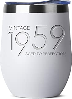 1959 60th Birthday Gifts for Women and Men White 12 oz Insulated Stainless Steel Tumbler | 60 Year Old Presents | Mom Dad Wife Husband Present | Party Decorations Supplies Anniversary Tumblers Gift th