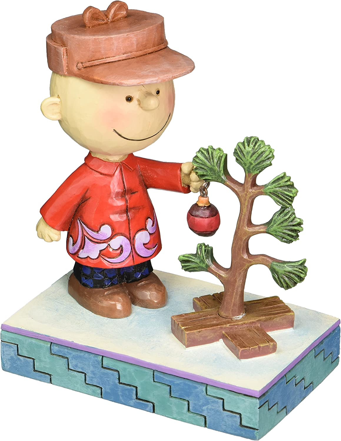 Peanuts by Jim Shore Charlie Brown with Christmas Tree Stone Resin Figurine, 5""
