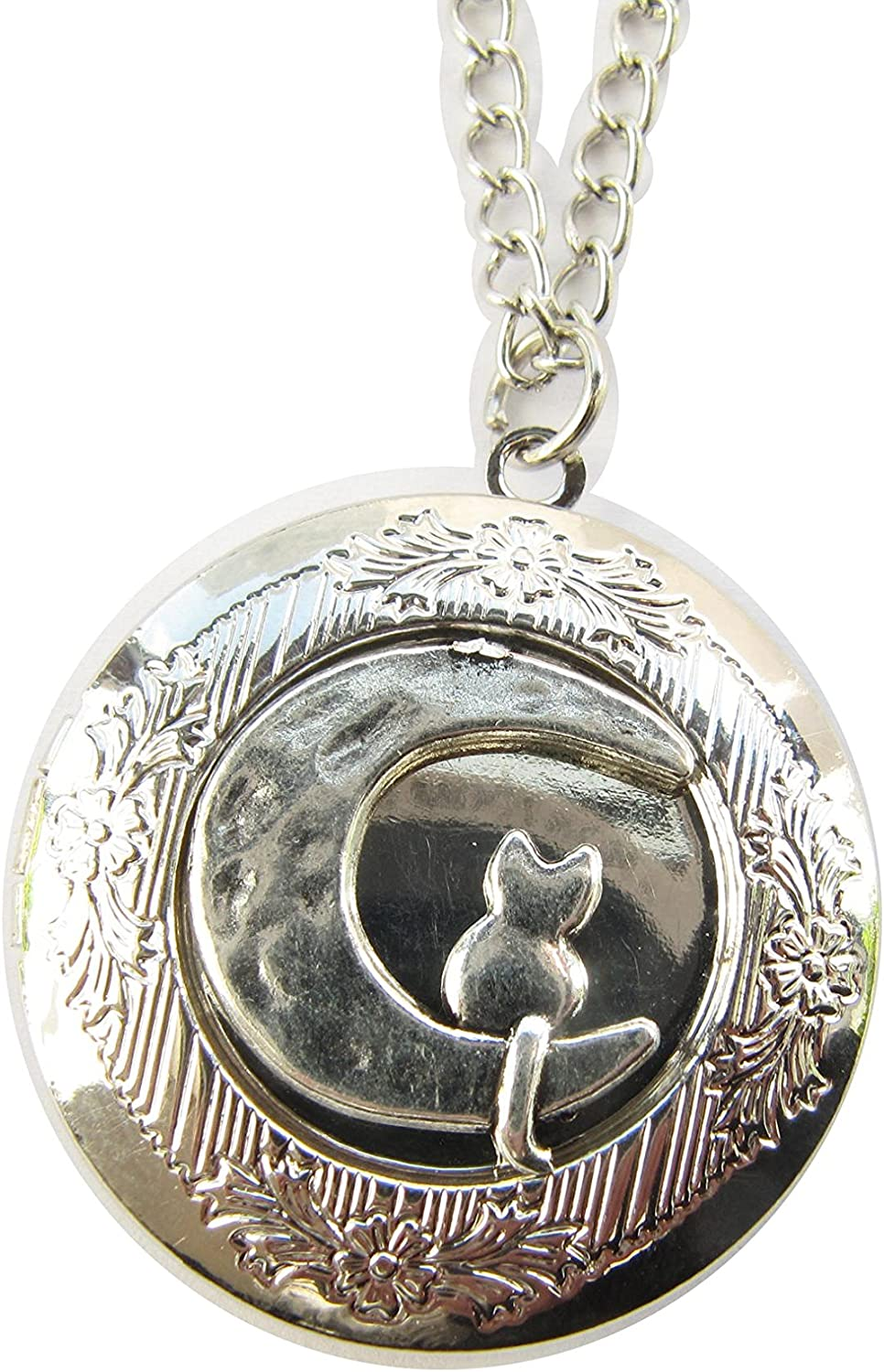 Cat and Moon Locket Necklace - Moon Cat Charm - Cat Locket- Cat Lovers Gift - Moon Locket - Cat Sitting on The Moon - Cute Jewellery