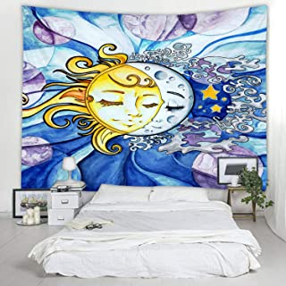 Fabric Tapestry Decor Wall Art Tablecloths Bedspread Picnic Blanket Beach Throw Tapestries Colorful Bedroom Hall Dorm Living Room Hanging Sun and Moon Change 79x59 inches