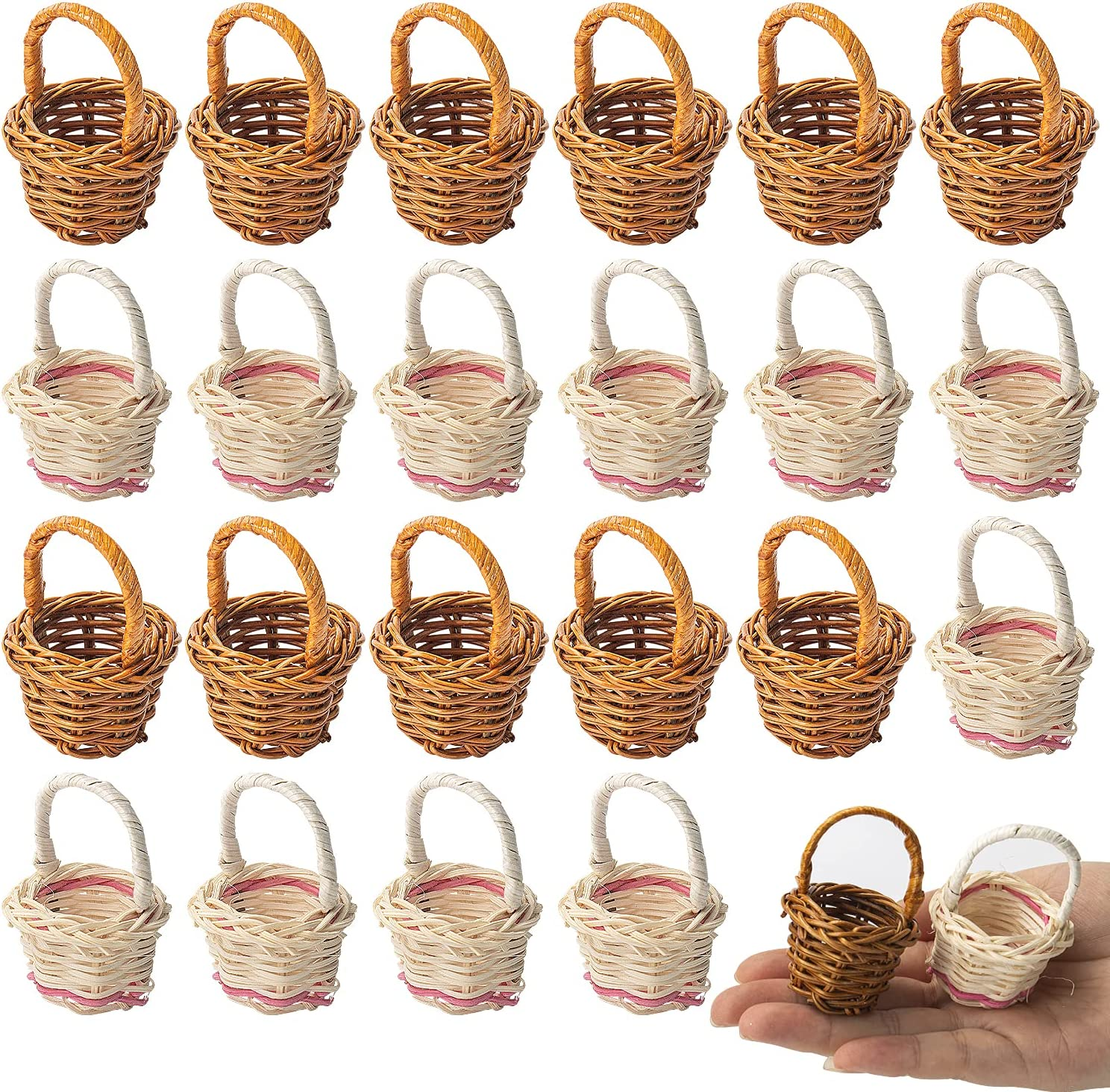 Hiawbon 24 Special Campaign Pack Dollhouse Miniature Woven Super sale period limited Wood Figurines Basket
