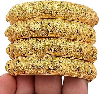 4 قطع 24 كيلو مطلية بالذهب والبودرة الخفيفة للنساء سوار داخلي للنساء