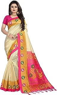 Anni Designer Women's Cream Color Kalamkari Mysore Silk Printed Saree Border Tassels With Blouse Piece(WORLD-DN-110_Free Size)