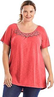 Women's Plus Size Crochet Trim Tunic