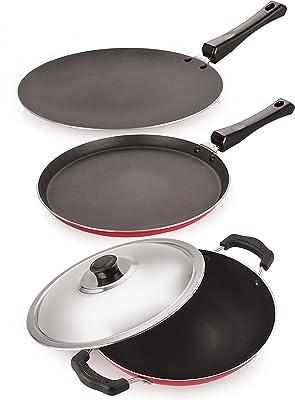 NIRLON Non-Stick Cookware Set (Dosa Tawa, Roti Chappati Tawa, Appachatti) Pans and Tawas, Pots - Kitchen & Dining Red & Black Combo Offer 3 Piece.