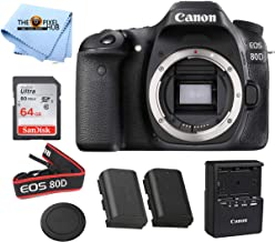 Canon EOS 80d Body Only Includes Free SanDisk Ultra 64GB SDHC Class 10 Card and LPE6 Replacement Battery (Lens Not Included) – International Model