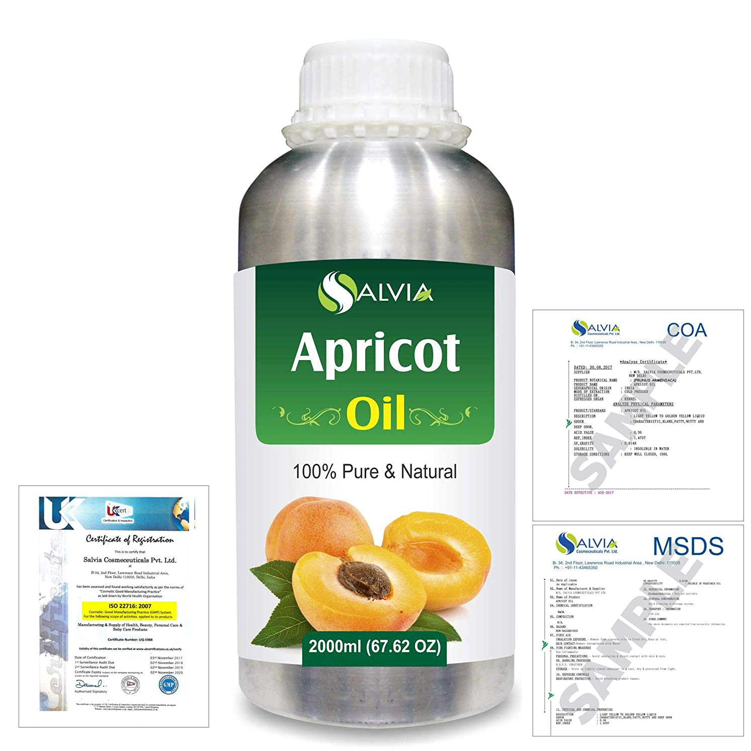 光沢役割コントロールApricot (Prunus armeniaca) Natural Pure Undiluted Uncut Carrier Oil 2000ml/67 fl.oz.