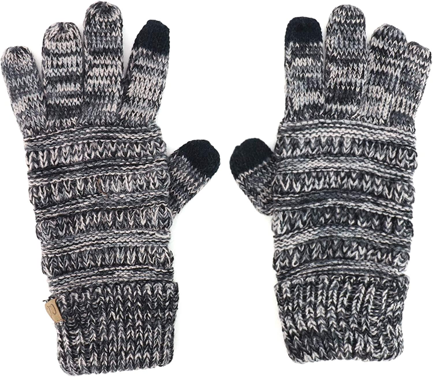 Trendy Apparel Shop Touchscreen Friendly Faux Leather Palm Patch Knit Gloves