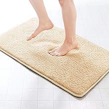 """Genteele High Density Memory Foam Luxury Bathroom Rug Mat Embossed Bath Mat Carpet (22"""" X 36"""", Beige)"""