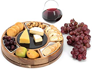 Shanik Cheese Board Set, Round Acacia Charcuterie Board, Cheese Serving Platter with Slide-Out Drawer, 2 Sided Marble Plate Black/White,3 Piece Stainless Steel Cutlery, Quality Assured