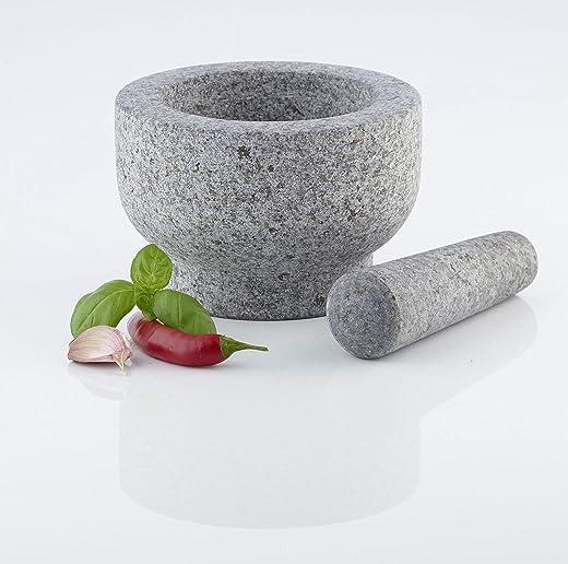 Ribelli XXL Mörser Stößel Granit Granitmörser Zerkleinerer Gewürze Gewürzreibe Granitstein Küche Ø ca. 15,0 cm