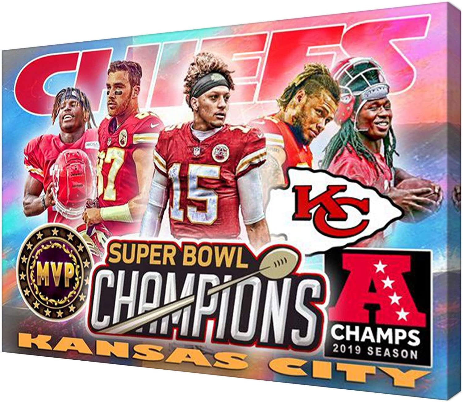 2020 American Professional Football League Super Bowl Champion KC Chiefs Poster Painting Canvas Prints Bedroom Large home decor Wall Art Picture canvas wall SANTA RONA (Canvas roll:16x24(inch),QJ0014)