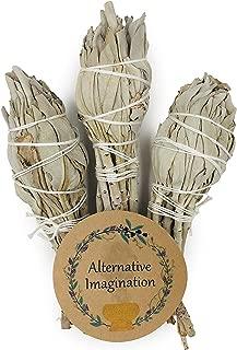 Alternative Imagination Premium Torch Style California White Sage 4 Inch Smudge Sticks. Package of 3.
