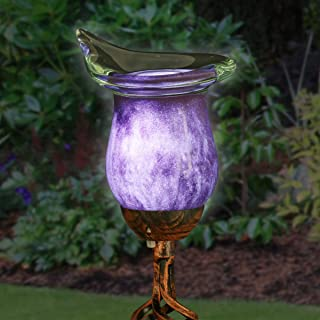 Exhart Purple Calla Lily Yard Stake w/Metal Finials – Solar Calla Lily w/LED Lights, Calla Lily Flower Outdoor Decor Lights, Elegamt Glass Flower Décor for Outdoors, 3