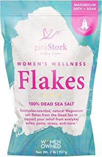 Pink Stork Women's Wellness Flakes: Relaxing Eucalyptus Scented Bath Salts for Women, Pure Magnesium from T...