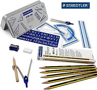 Staedtler Back to School Set - 10 Piece Maths Set in Metal Gift Tin + 12 Grade H Noris Pencils