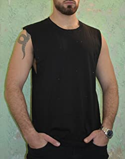 Men's Black Tank Top Sleeveless Shirt, Loose Fit Wide Training Sports Everyday Wear for Men, Casual Basic Clothing