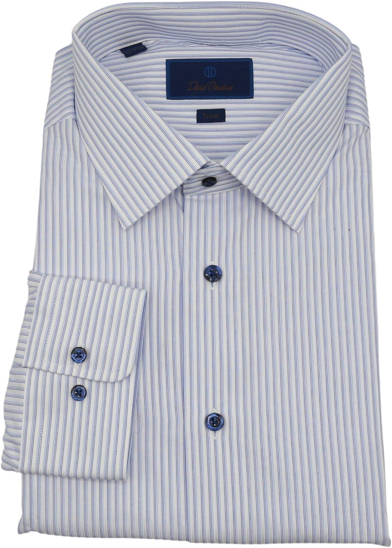 David Donahue Men's Trim Striped Dress Shirt