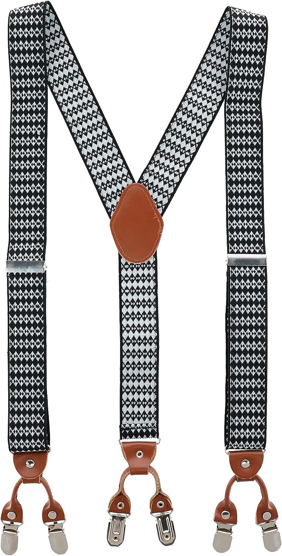 Trendy Yuppy Men's 1.375 Inch Wide Aztec Print Y-Back Double Clip-End Suspenders