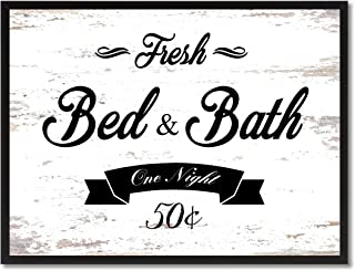 Fresh Bed & Bath Vintage Sign Canvas Print with Picture Frame Home Decor Wall Art Collection Gift Ideas, White, 7