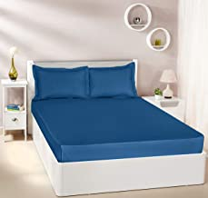 Amazon Brand - Solimo Solid 144 TC 100% Cotton Double Bedsheet with 2 Pillow Covers, Navy Blue