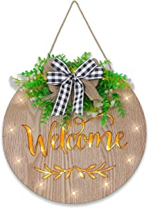Welcome Sign for Front Door Decor, Welcome Sign for Farmhouse Front Porch with LED Lights, Spring Wreaths Welcome Sign Front Door Decoration, Round Rustic Wood Hanging Welcome Sign