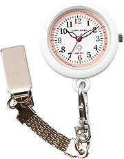 【リトルマジック】ピンク ナースウォッチ 3種のチェーン 蓄光 3気圧防水 逆さ文字盤 時計 クリップ キーホルダー チェーン リール 日本製クオーツ 懐中時計