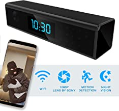 Hidden Spy Camera - Wireless Home Security Camera Alarm Clock - Best Spy Cam Wifi 1080p - Security Spy Camera With Motion Detector - Nanny Spy Camera For Women Men Black with Night Vision