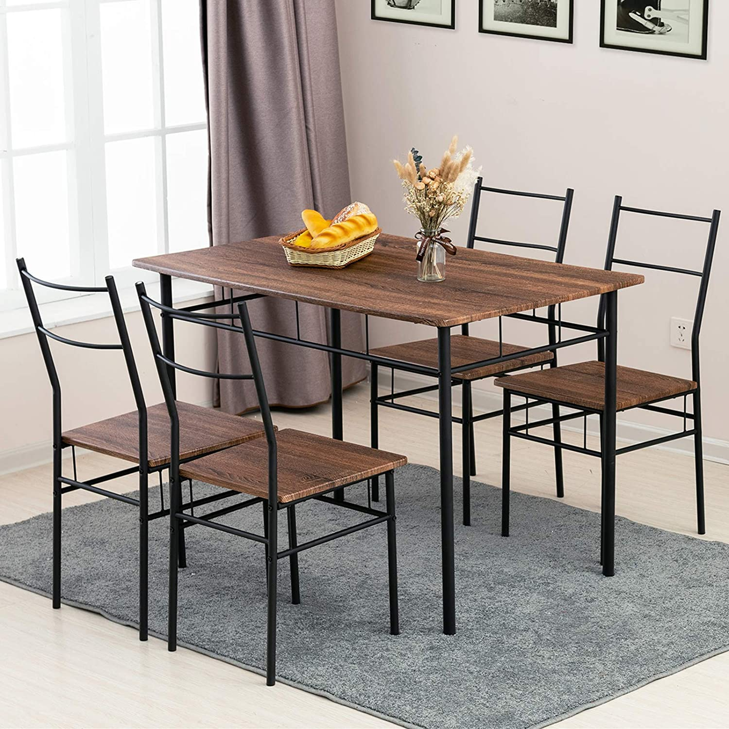 mecor 9 Piece Dining Table Set, Vintage Wood Tabletop Kitchen Table w/ 9  Chairs with Metal Frame, Brown