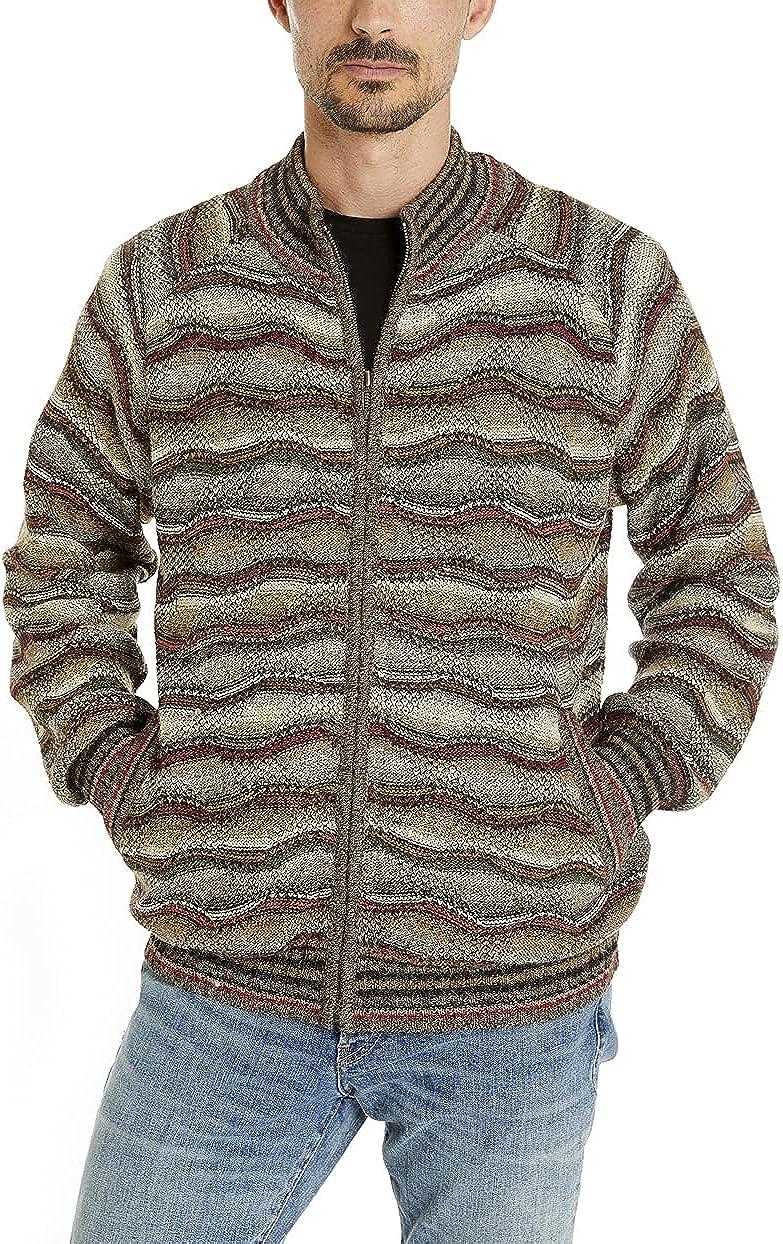 Invisible World Men's 100% Alpaca Wool Sweater Zip Up Mock Turtleneck Cardigan