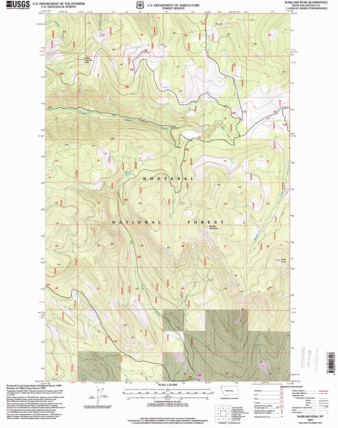 Warland Peak MT topo map, 1 24000 Scale, 7.5 X 7.5 Minute, Historical, 1997, Updated 2000, 27 x 22.2 in