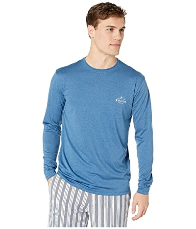 Quiksilver Waterman Watermarked Long Sleeve Surf Tee Rashguard (Monaco Blue) Men