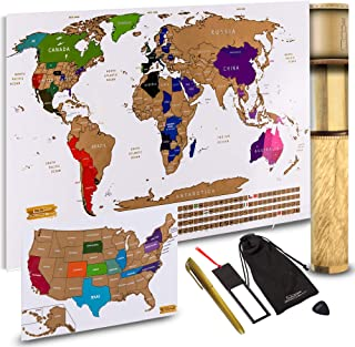 """Scratch Off World Map + Scratch Off USA Map Travel Poster 