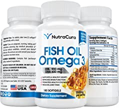 NutraCura 180 x Omega 3 Fish Oil Softgel - Best High Potency Fish Oil Supplement - Lemon Flavor - Made in The USA
