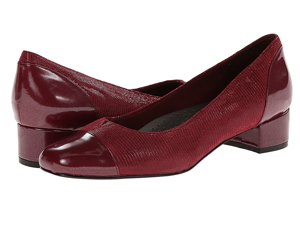 Trotters Danelle (Dark Red Patent Suede Lizard Leather/Pearlized Patent) Women