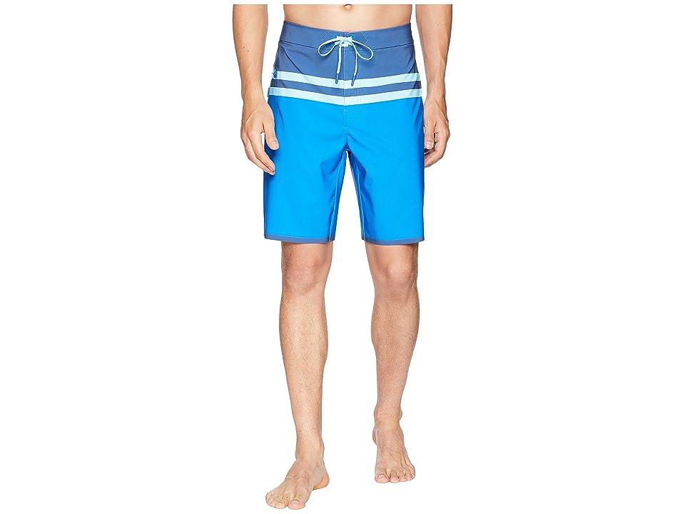 Vineyard Vines Bay Ridge Stripe Tech Boardshorts (Azure Blue) Men