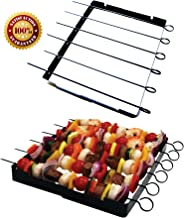 Barbecue Skewer Shish Kabob Set, BBQ Kebab Rack Maker for Meat & Vegetables, Steel Kabab Sticks for Gas or Charcoal Grilling, Begin Cooking Like a Chef, Barbecue With No Mess, Free E-book Included!