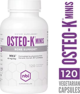 NBI Osteo-K Bone Support - Mini | Vitamin D & K Complex with Calcium Citrate Supplement | 45mg Vitamin K2 (MK4) for Strong Bone Health & Function | 120ct Veggie Capsules