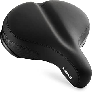 LINGMAI Comfortable Oversize Bike Seat Cover -Super Large Wide Bicycle Saddle with Soft Cushion Improves Comfort for Mountain Bike, Road Bicycle, Hibrid and Stationary Exercise Bike