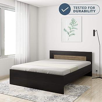 Amazon Brand - Solimo Aquilla Engineered Wood Queen Bed (Wenge Finish)