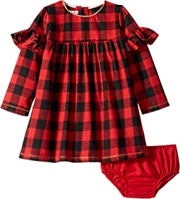 Buffalo Check Long Sleeve Dress with Bloomer Set (Infant)