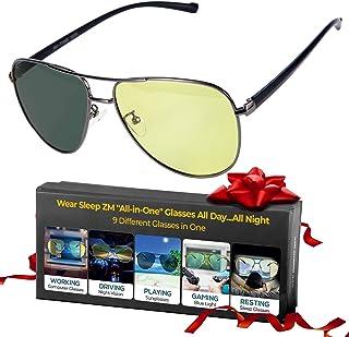 All-In-One Aviator Blue Light Blocking + Photochromic Sunglasses + Polarized Driving Glasses + Migraine Glasses - Women & ...