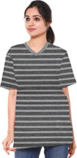 EASY 2 WEAR ® Women Grey Stripes V Neck T Shirt - Loose and Long Fit - S to 5XL
