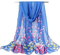 Women's Chiffon Scarf Lightweight Scarves Fashion Floral Print Scarfs Shawl for Ladies and Girls