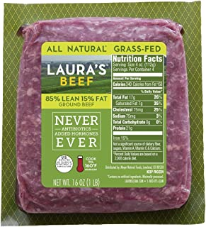 Laura`s Lean 85% Grass Fed Ground Beef - 1lb bricks - 8 per case, no added hormones or antibiotics ever, humanely handled,...
