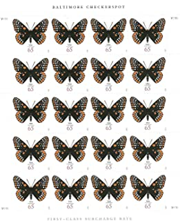 USPS Baltimore Checkerspot Butterfly Sheet of 20 65 Cent Stamps Scott 4603