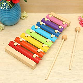Crazycrafts Wooden Big Xylophone Musical Toy with 8 Notes for Kids (Multicolour)