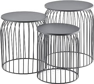 [en.casa] Set de 3X Cestas de Metal Mesa Baja Mesa Auxiliar para Almacenar Mesas de té y café Mesas de Centro Gris Oscuro
