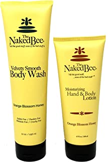 The Naked Bee Orange Blossom Honey Moisturizing Hand & Body Lotion 6.7 ounce and Velvety Smooth Body Wash 10 ounce Paraben-Free, Cruelty-Free