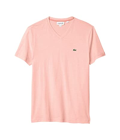 Lacoste V-Neck Stripe T-Shirt (Elf Pink/White) Men